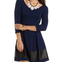 Faux Leather Trim Skater Dress by Charlotte Russe - Navy Combo