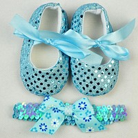 Toddler Shoes Baby First Walkers Spring Bling Bow Baby Girl Shoes with Headband Newborn Shoes Infant Girls