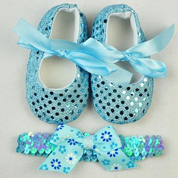 Toddler Shoes Baby First Walkers Spring Bling Bow Baby Girl Shoes with Headband Fashion Newborn Shoes Infant Girls
