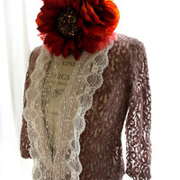 Lace tuxedo jacket, Christmas blazer, winter cocoa, cottage chic, country chic clothing, shabby brown, rustic farmgirl, women's