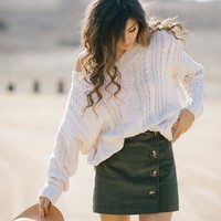 Shaylee Olive Corduroy Button Skirt