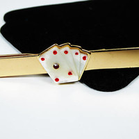 Poker Hand Cards Tie Clip - Mother of Pearl Lucky Cards with a Red Rhinestone & Enamel - Vintage 1950's 1960's Gambling Theme - Poker Game