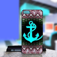 Aztec With Anchor Blue mean - For IPhone 4 or 4S Black Case Cover