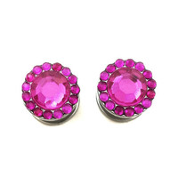 Hot pink plugs / 2g, 0g, 00g / jewel plugs / sparkle gauges / bling plugs / rhinestone gauges / screw on plugs / pink gauges