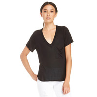 Retro Style Deep V-neck Single Pocket T-shirt