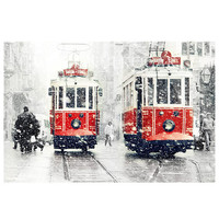 SALE Winter  Photography, Tram photography, winter photography, snow photograph, istanbul photography, Valentines gifts,10''x 15 ''inch