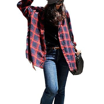 Women's Red Plaid Blouses Tops T-Shirt Casual Loose Fitting