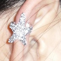 Handmade Womens Diamonds-studded Starfish Ear Cuff