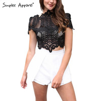 elegant black lace crochet crop top Girls short sleeve white blouse Women sexy hollow out tank tops