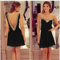 Women's V-neck Backless Gold Flower Lace Black White Chiffon Patchwork Mini Dress 7_S = 1916949316