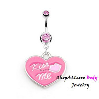 NEW Item - KISS ME Dangle Heart Belly Button Ring - Set in Surgical Stainless Steel