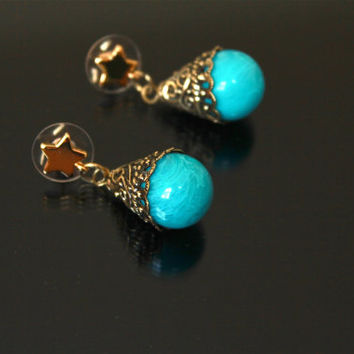 Turquoise Post Earrings, Antique Gold Plated, Dangle Earrings