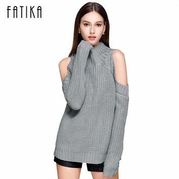 FATIKA Women's Off Shoulder Turtleneck Knitted Sweaters Autumn 2017 Fashion Pullover Jumpers Winter Oversized Sweater for Woman
