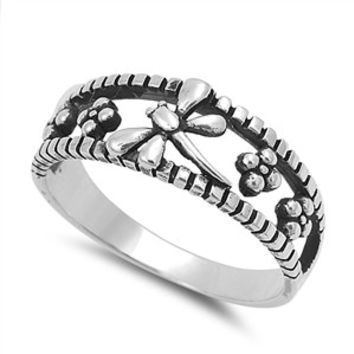 925 Sterling Silver Dragonfly of Eva 8MM Ring
