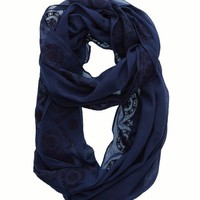 Aerie Women's Embroidered Loop Scarf (Odyssey Blue)