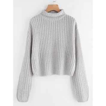 Turtle Neck Drop Shoulder Jumper
