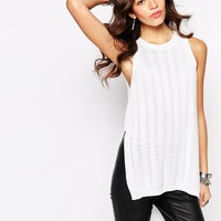 New Look Split Side Knitted Festival Top