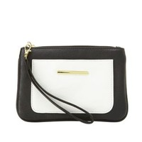 Black/White Color Block Wristlet Clutch by Charlotte Russe