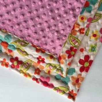 "Minky Baby Blanket Floral (30"" x 36"")"