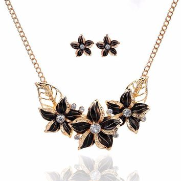 Crystal Enamel Flower Pendant Necklace Earrings Jewelry Set