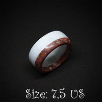 Size 7,5 US, Red and white ring, Band ring, Red ring, White ring, Corian ring, Women ring, Red stone, White stone, Engagement ring