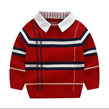 Plaid Knitwear Boys Cotton Pullover Dual Collar Sweater