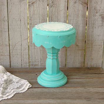 "6"" Cake Stand, Shabby Chic, Tiffany Blue, Aqua, Cake Stand, Cupcake Stand, Painted, Distressed"