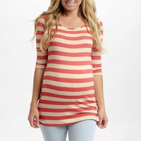 Coral Beige Striped 3/4 Sleeve Fitted Maternity Top