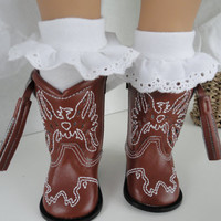 White eyelet ruffled knee high socks for American Girl Doll or other 18 inch Dolls