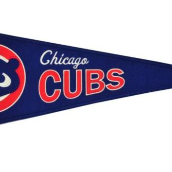 Chicago Cubs Cooperstown Collection 1984 Logo Vintage Premium Wool Pennant By Winning Streak