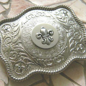 Fleur De Lis Rhinestone Belt Buckle, Silver Western Engraved Womens Mens Belt Buckle, Mardi Gras Silver Belt, New Orleans Saints Football