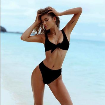 Sexy Bikini Swimsuit 2017 Summer Bow Bandage Bustier Corset Women two pcs sets