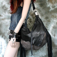 Metallic leather black raw edges slouchy  hobo raw  bohemian motorbike  tribal bag fringe gothic native rock n roll bag goth gothic