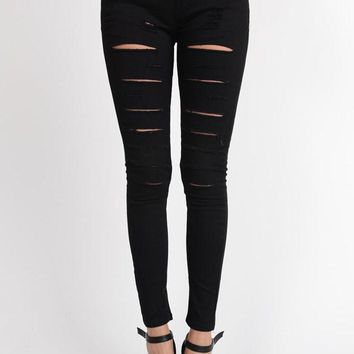 Women's Solid Thrashed Skinny Jogger Pants