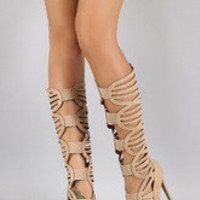 Women's Elastic Strappy Cutout Peep Toe Gladiator Knee High Heel