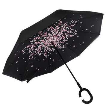 Ceiourich Inverted Umbrella Double Layer Folding Self Stand Upside Down Car Reverse Umbrellas with C-shaped Handle, Umbrella-001