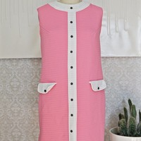 Vintage 1960s Mod + Candy Pink Shift Dress
