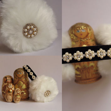 Beaded white faux fur earmuffs, ear warmer headband, bejewelled earmuffs, OOAK earmuffs, fluffy earwarmers
