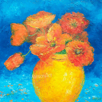 POPPIES painting,Canvas Art,orange poppies,flower art, Flower Painting,wall art, Impressionist Art,Still Life,designer decor,Etsy Art,Matson