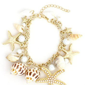 Sea Shell Charms Bracelet Gold Tone BE02 Beach Starfish Conch Faux Pearl Fashion Jewelry