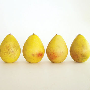 Vintage Italian Marble - Stone Fruit Miniature Pears, Set of 4