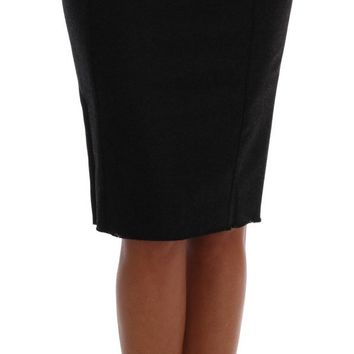 Gray Cashmere Wool Pencil Skirt