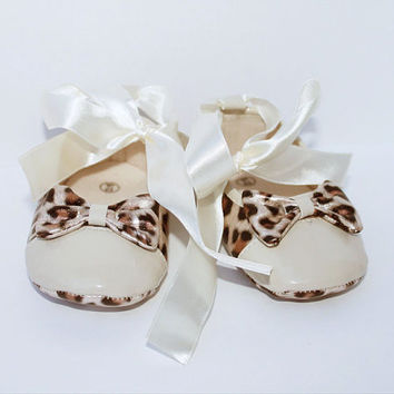 Leopard Ballerina Baby Shoes, Gold Baby Shoes,Christening baby shoes, baby girl crib shoes, Wedding, Ready to ship
