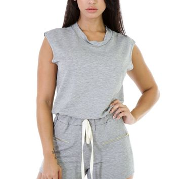 Stylish Sleeveless Zipped Romper with Drawstring