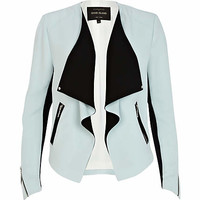 Light blue waterfall biker jacket