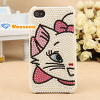Fashion design 3D iphone case Kitty case Iphone4 case iphone4s case cell phone cases pearl phone case holiday gift