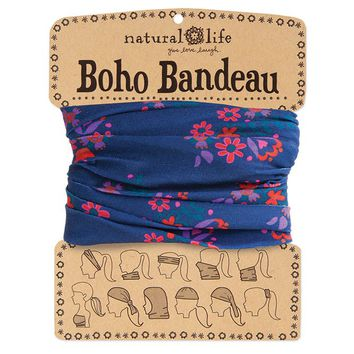 Navy  with  Pink  Flower  Boho  Bandeau  From  Natural  Life