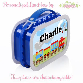 Personalized Lunchbox with Interchangeable Faceplates - Double-Sided Train Lunchbox