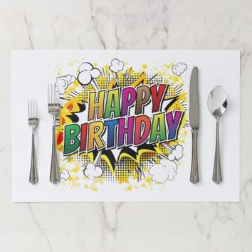 Happy Birthday Comic Book Tearaway Placemat