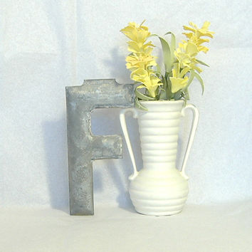 Vintage Architectural Marquee Letter F c1900 Industrial Salvage 6 Inch Metal Initial Urban Decor